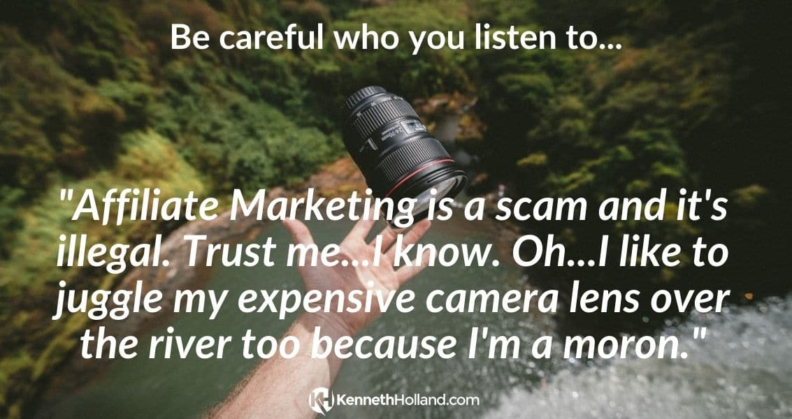 is Affiliate Marketing a Scam - Guy Juggling Camera Lens
